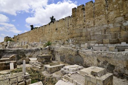 desolate: Desolate Muslim cemetery near East Wall of Jerusalem, Israel. Stock Photo