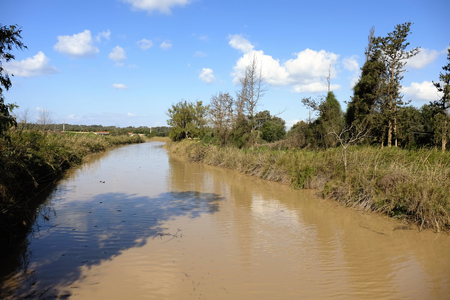 nahal: Wide flood of Nahal Alexander stream after winter rains. Stock Photo
