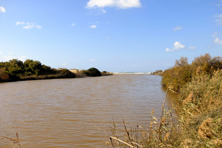 Wide flood of Nahal Alexander stream after winter rains. Stock Photo