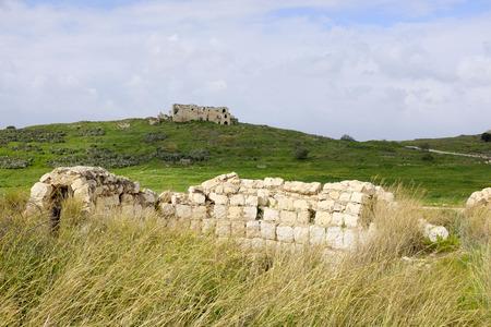 archaeologies: Crusader castle Mirabel in Migdal Afek National park, Israel Stock Photo