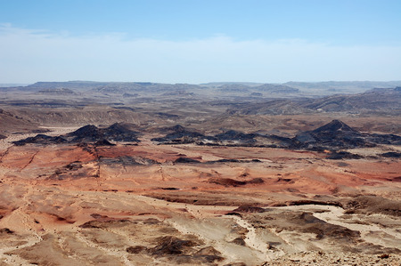 Crater Ramon aerial landscape in Negev desert mountains, Israel