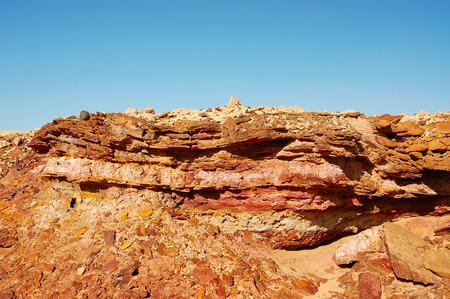 Geological stratum in eroded sandstone rock, Negev desert in Israel