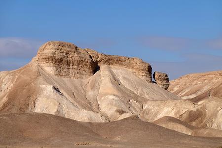 Arid mountain landscape near Dead Sea in Judea Desert, Israel.