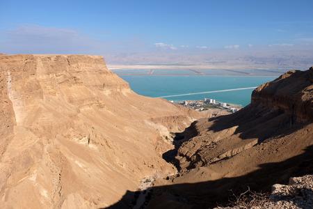 judea: Aerial view of Ein Bokek gorge near Dead Sea, Judea Desert in Israel.
