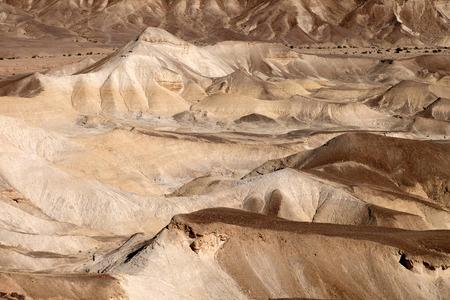 Arid lifeless landscape near Dead Sea in Judea Desert.