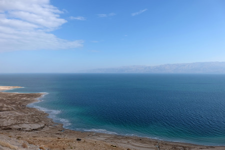 Drying coast of retreating Dead Sea in Israel.