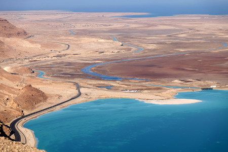 Drying isthmus between two parts of Dead Sea.