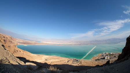 Panoramic landscape of drying Dead Sea in Israel.