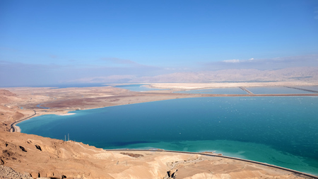 Aerial landscape of drying Dead Sea in Israel.
