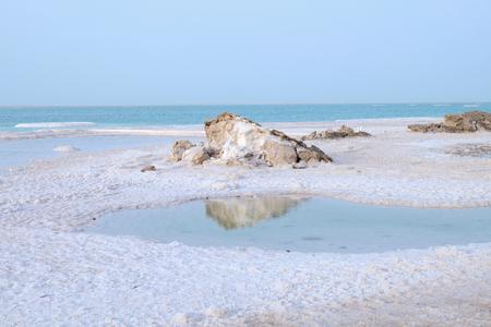 Salt beach on Dead Sea coast, Israel Stock Photo