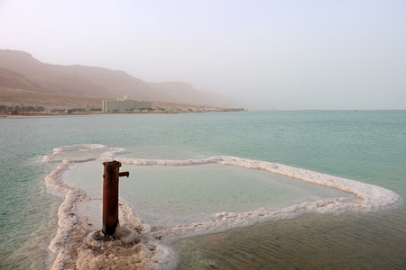 Iron pole and salt sediment on Dead Sea surface, Israel
