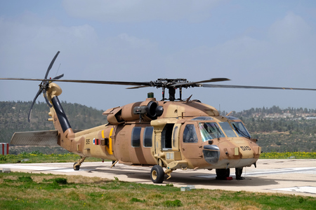 HADASSAH HOSPITAL, ISRAEL - MAR 11, 2017: Medical helicopter with camouflage colors landed on Hadassah hospital.