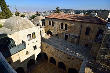 Ancient patio in Jewish Quarter of old Jerusalem, Israel. Stock Photo