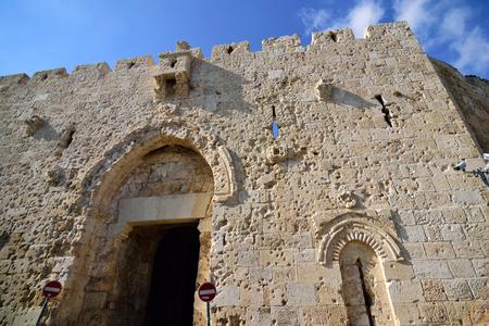 Zion Gate entrance in Old City of Jerusalem, Israel.