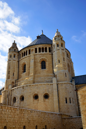 Huge building of Dormition Abbey in old city of Jerusalem. Stock Photo