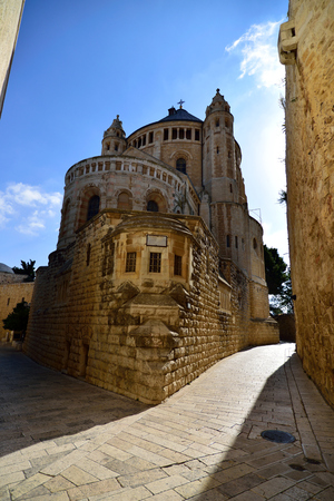 Medieval building of Dormition Abbey in old city of Jerusalem. Stock Photo