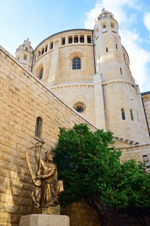 Huge building of Dormition Abbey in old city of Jerusalem, Israel.