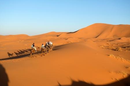 ラクダキャラバンは、サハラ砂漠、モロッコの砂丘を通って行きます。