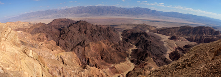 Panoramic aerial landscape in Eilat Mountains and Jordan mountain range on the background.