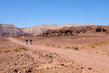 Two unrecognized mountain bikers cycling in the desert, Timna National park in Israel.