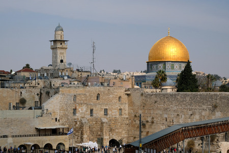 The wailing wall and Dome of the Rock mosque in Old City of Jerusalem.