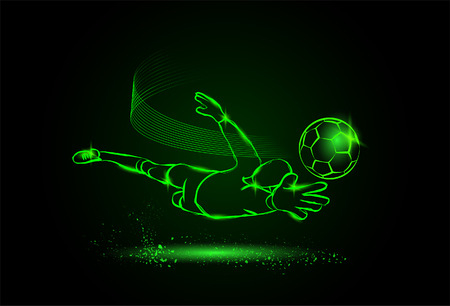 soccer save from the goalkeeper. neon style Vectores
