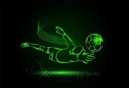 arquero de futbol: fútbol ahorrar en el guardameta. estilo de neón Vectores