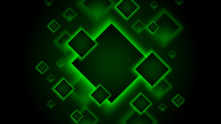 Green neon abstract background. square tiles in the space