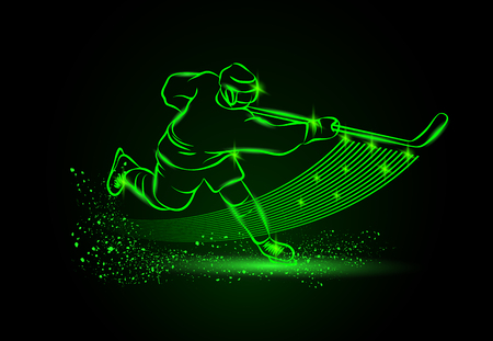 ice hockey player: hockey player, Neon sport background Illustration