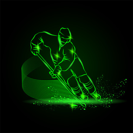scores: hockey player scores a goal, Neon sport background Illustration