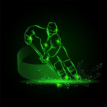 hockey speler scoort een doelpunt, Neon sport achtergrond Stock Illustratie