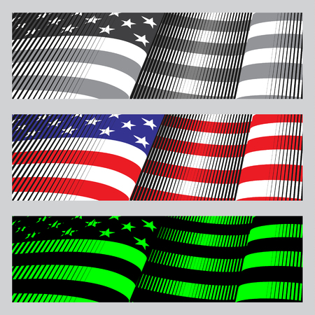blue star: American flag banners. drawing, vintage and neon