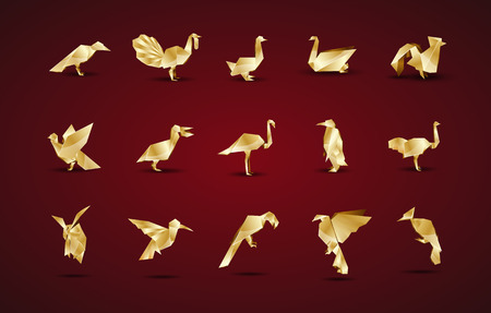 pigeon owl: gold origami bird set Illustration