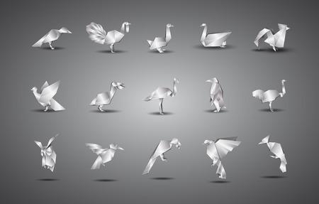 metal origami birds set.