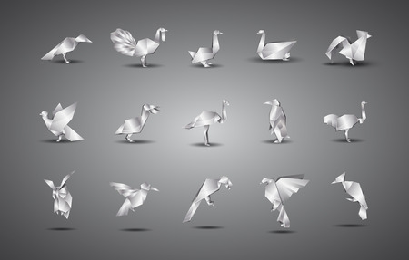 cisnes: pájaros de origami de metal fijadas. Vectores