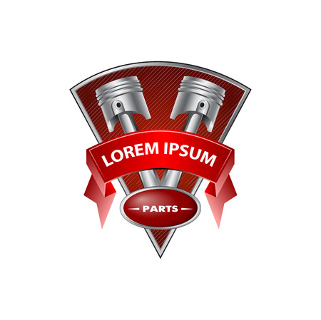 engine pistons: two pistons on the background with tape Illustration
