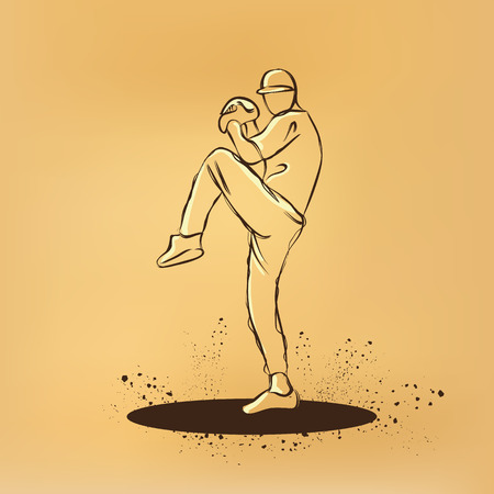 throw up: baseball player pitcher with leg up getting ready to throw ball. drawing on old paper