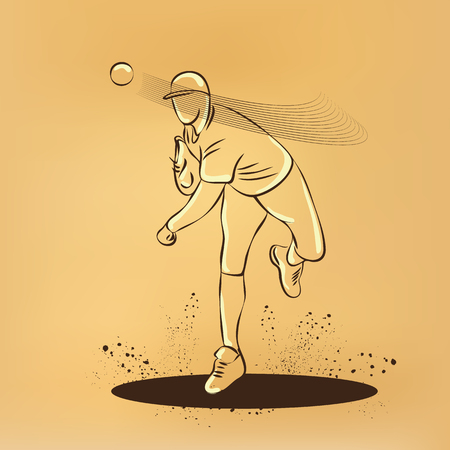 baseball pitcher: Baseball pitcher throws ball. drawing on old paper