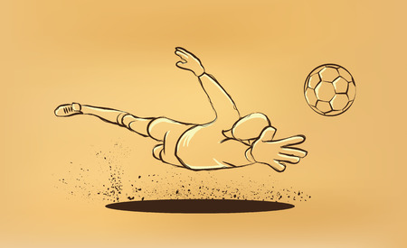 goalkeeper tries to catch the ball. sketch on the old paper