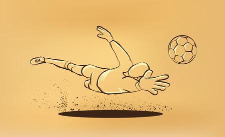 Portero trata de atrapar la pelota. dibujar en el papel viejo Foto de archivo - 44605529