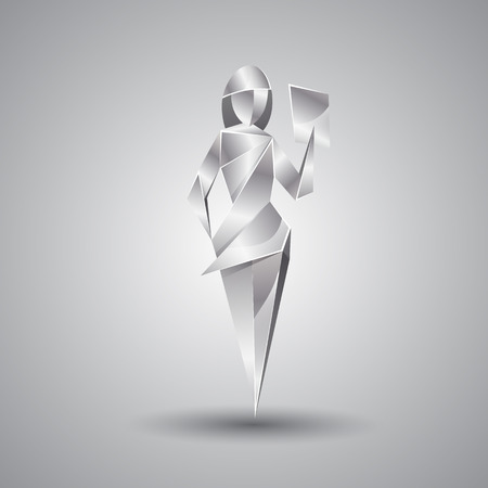 chromium sheet: silver origami girl with a sheet of paper