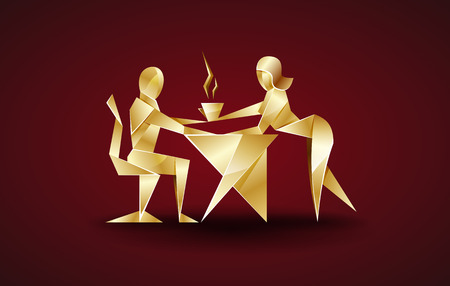 serves: girl serves coffee to his boss. origami style Illustration