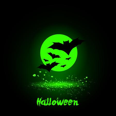 blue green background: Halloween glowing neon bats on moon background Illustration