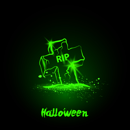 grave: Halloween glowing neon grave Illustration