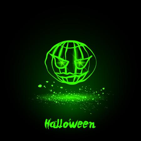spook: Halloween glowing neon pumpkin