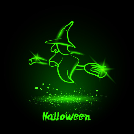 broomstick: Halloween glowing neon witch on broomstick Illustration