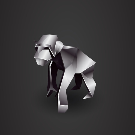chrome: chrome origami monkey chimp Illustration
