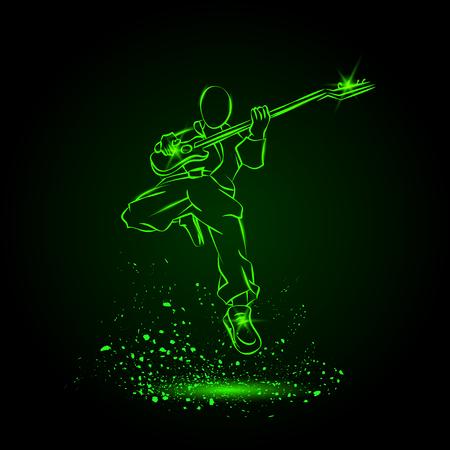Rock Guitar Player Springen met Zonnebril. Neon muziek achtergrond.