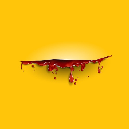 cut with th blood template. Yellow background Illustration