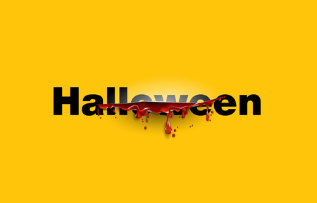 paper cut: Halloween. text cut with the blood template. Yellow background